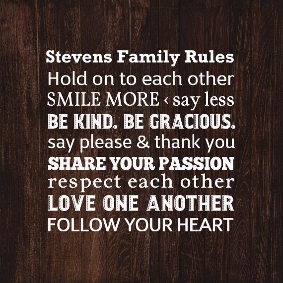 Family Pot Holder, Gift -Family Rules