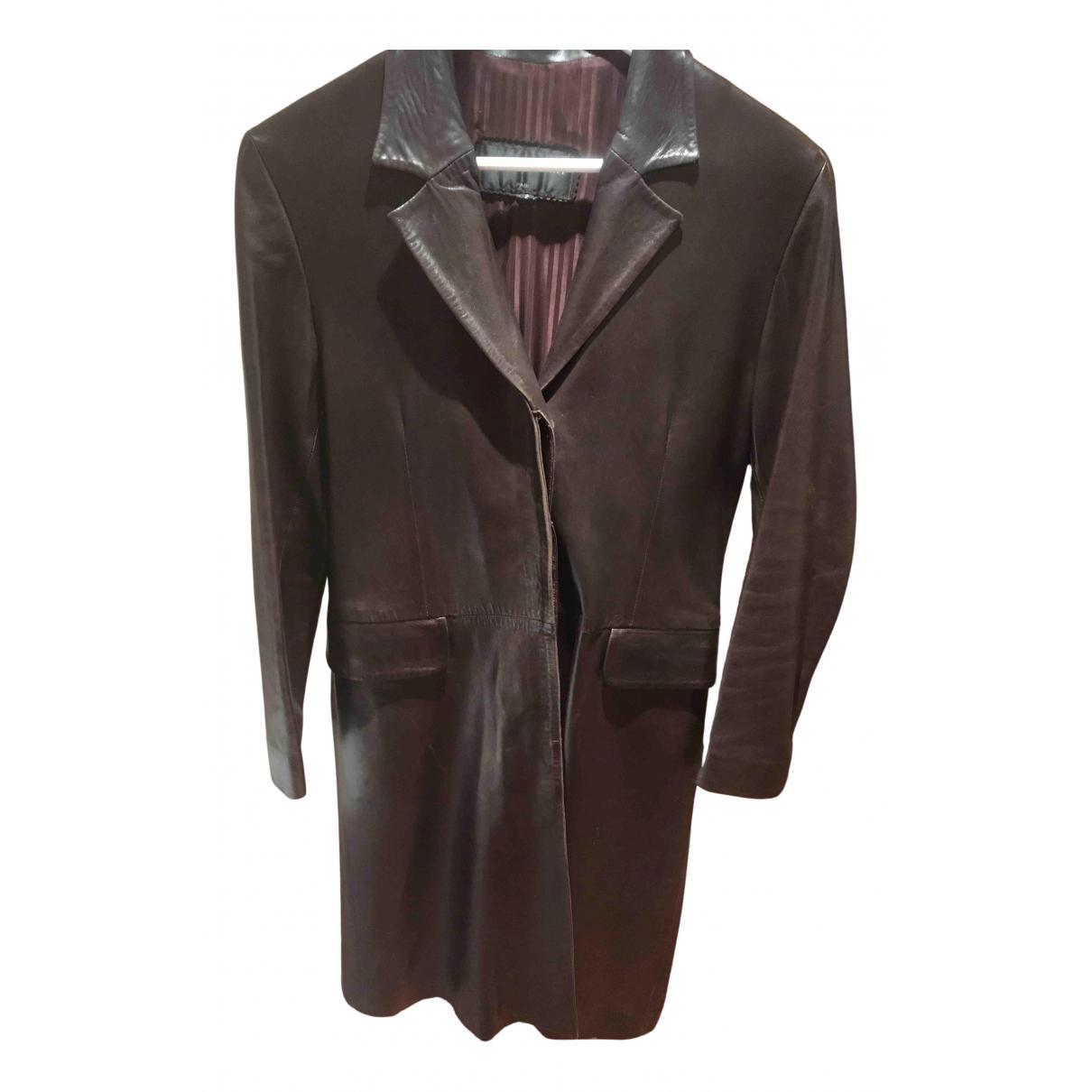 Ventcouvert - Manteau   pour femme en cuir - marron