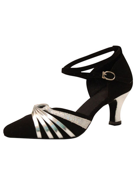 Milanoo Silver Ballroom Shoes High Heel Suede Ankle Strap Women's Twisted Two Tone Almond Toe Dance Shoes