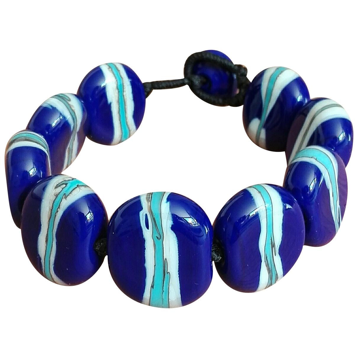 Non Signé / Unsigned Motifs Ethniques Blue Glass bracelet for Women \N