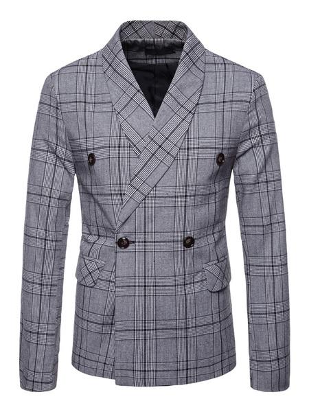 Milanoo Blazer For Men Plus Size 1950s Double Breasted Suit Jacket Shawl Lapel Plaid Casual Blazer