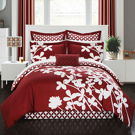 Chic Home Iris 11-pc. Floral Complete Bedding Set with Sheets, One Size , Red