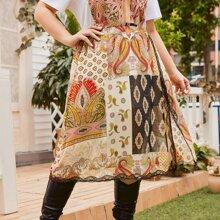 Falda con estampado tribal con paisley ribete con encaje