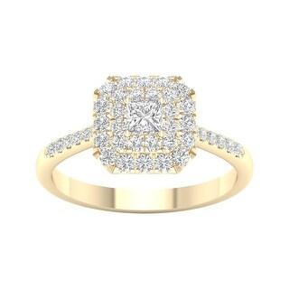 3/4ct TDW Princess Cut Diamond Halo Ring in 10k Gold by De Couer (8.5 - Yellow)