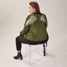 Plus Contrast Sequins Wing Pattern Bomber Jacket