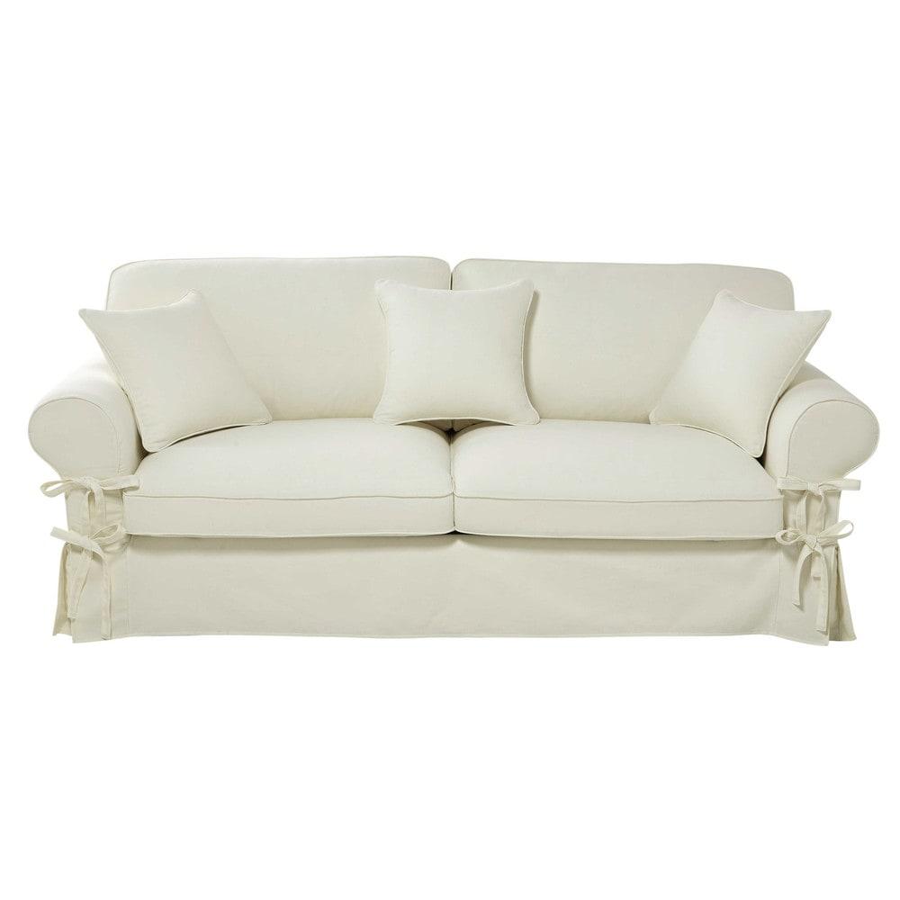 Ausziehbares 3-/4-Sitzer-Sofa aus Baumwolle, elfenbein, Matratze 12 cm Butterfly