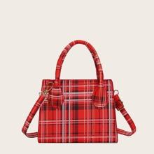 Double Handle Plaid Satchel Bag