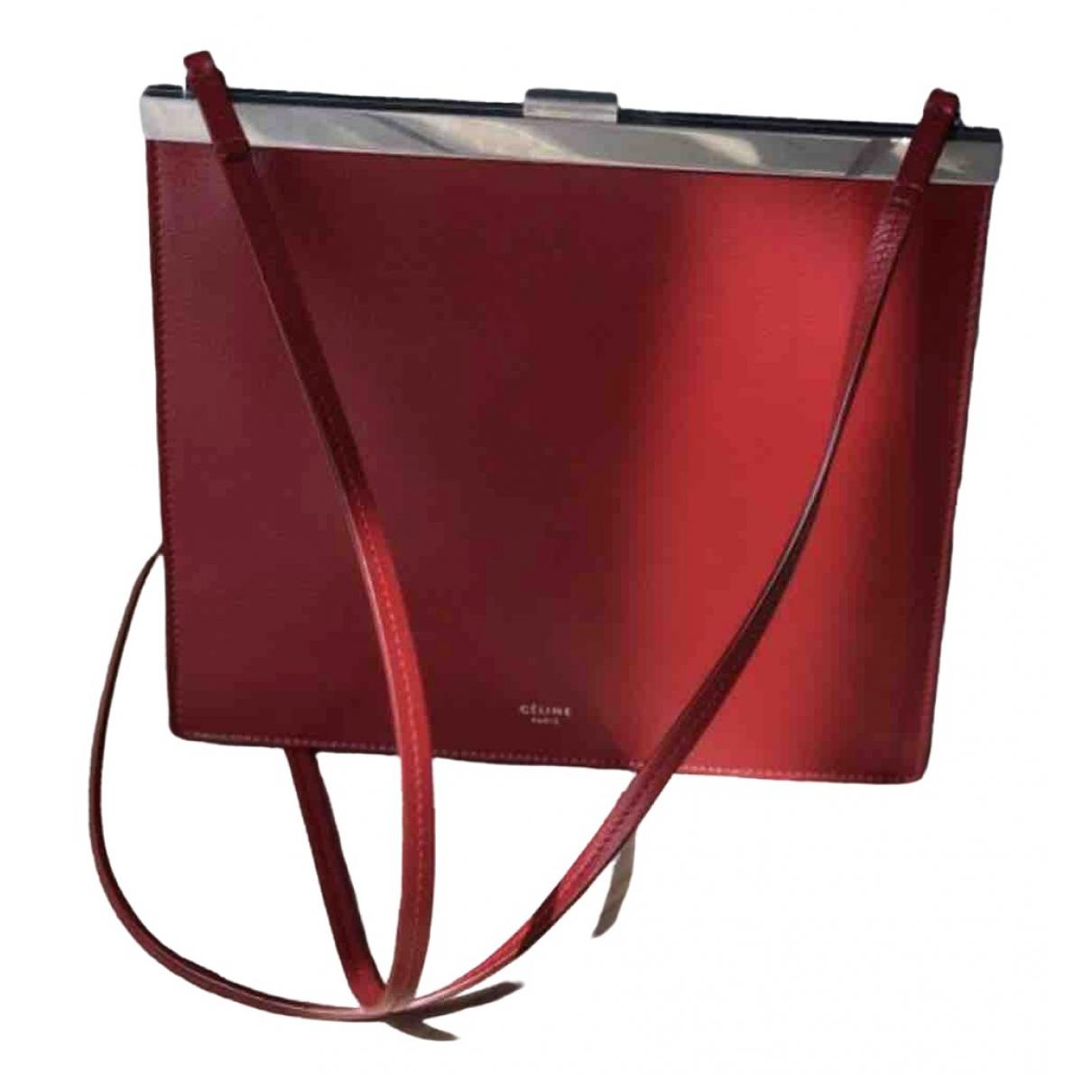 Celine Clasp Handtasche in  Rot Leder