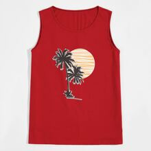 Men Sunset And Tropical Print Tank Top