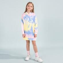 Girls Drop Shoulder Letter Graphic Tie Dye Hooded Sweatshirt Dress