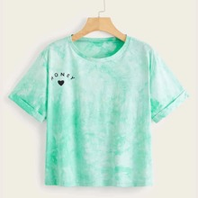 Plus Heart And Letter Graphic Tie Dye Tee