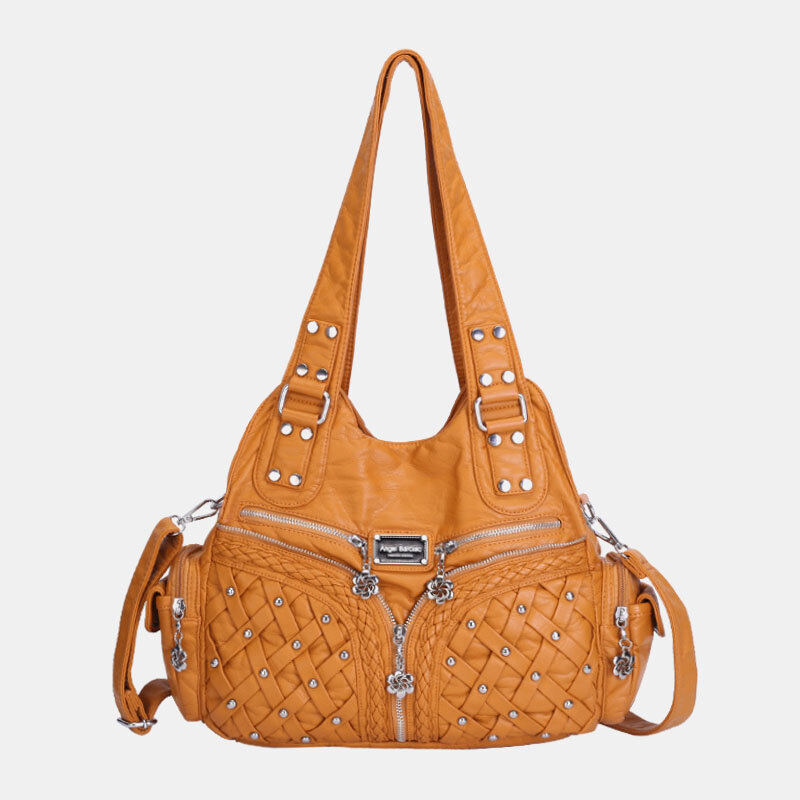 Women Multi-pocket Waterproof Woven Hardware Crossbody Bag Shoulder Bag Handbag Tote