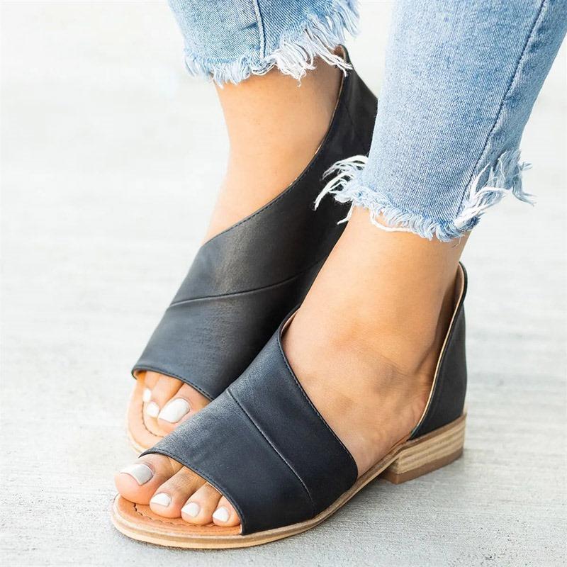 Ericdress PU Open Toe Heel Covering Women's Flat Sandals