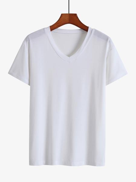 Yoins Men Summer Casual Modal Plain V-neck T-Shirt
