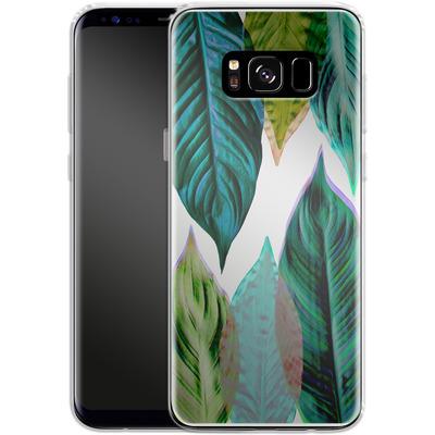Samsung Galaxy S8 Silikon Handyhuelle - Green Leaves von Mareike Bohmer
