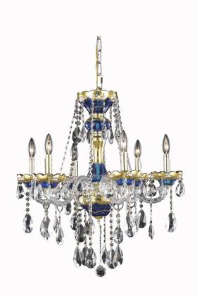 7810D24BE/SS 7810 Alexandria Collection Hanging Fixture D24in H27in Lt: 6 Blue Finish (Swarovski Strass/Elements