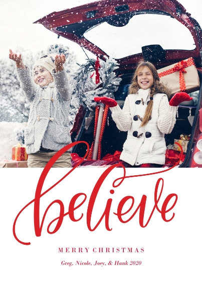 Christmas Photo Cards 5x7 Cards, Premium Cardstock 120lb, Card & Stationery -Believe