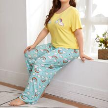 Plus Cartoon Graphic Tee With Pants PJ Set