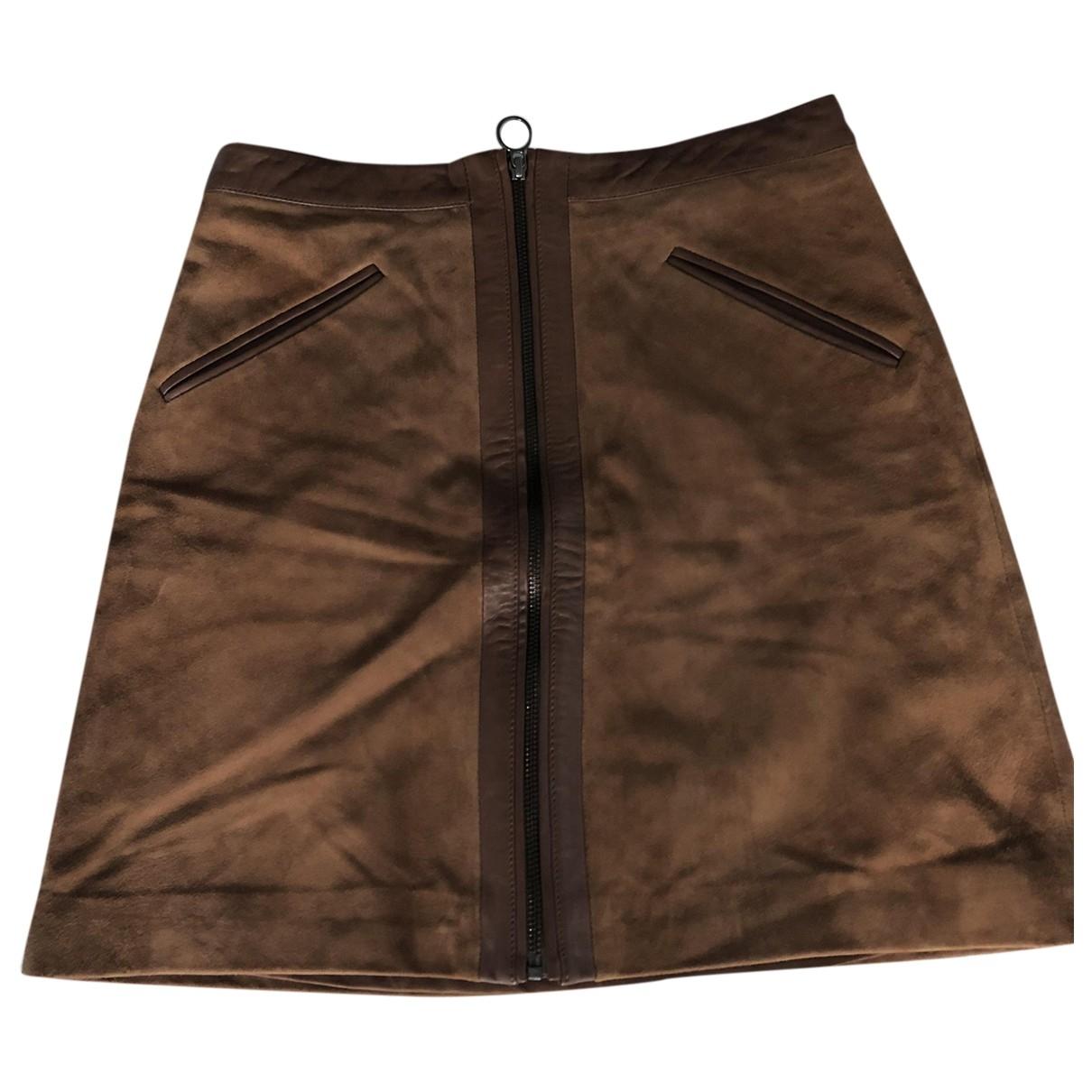 Hallhuber - Jupe   pour femme en cuir - marron