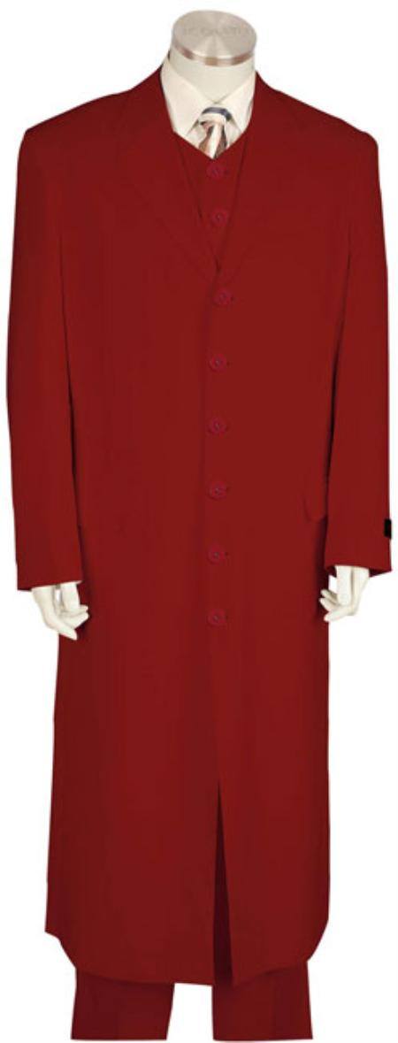 6 Button Red Urban Styled Suit with Full Length Jacket Mens