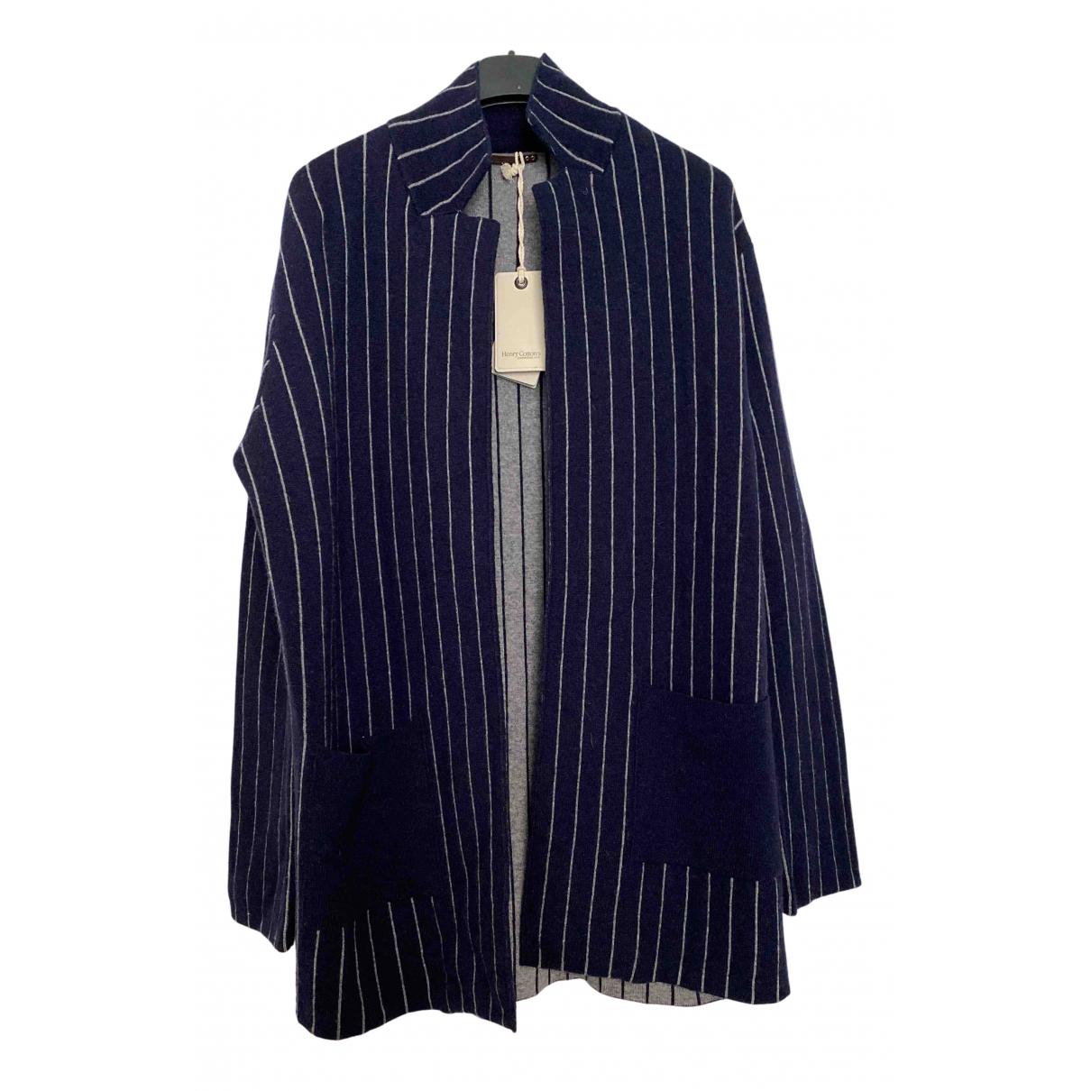 Henry Cotton - Pull   pour femme en laine - bleu