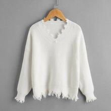 Girls V-neck Drop Shoulder Distressed Sweater