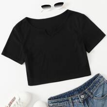 Schwarz Rippenstrick Einfarbig Basisstile T-Shirts Grosse Grossen
