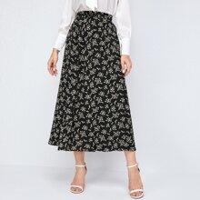 Falda linea A de cintura elastica con estampado floral de margarita