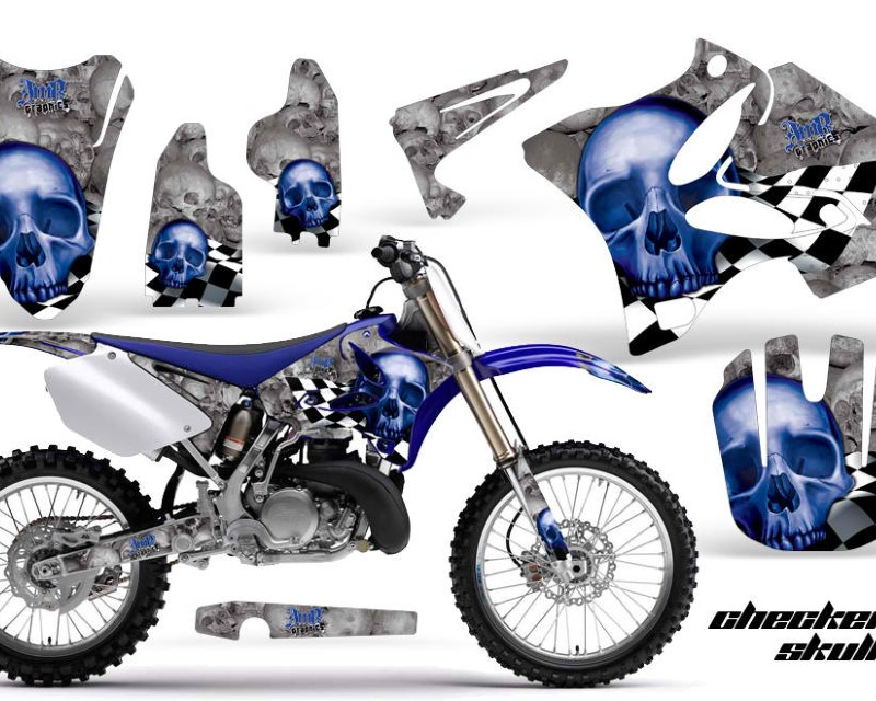AMR Racing Dirt Bike Graphics Kit Decal Wrap for Yamaha YZ125 YZ250 2002-2014áCHECKERED BLUE