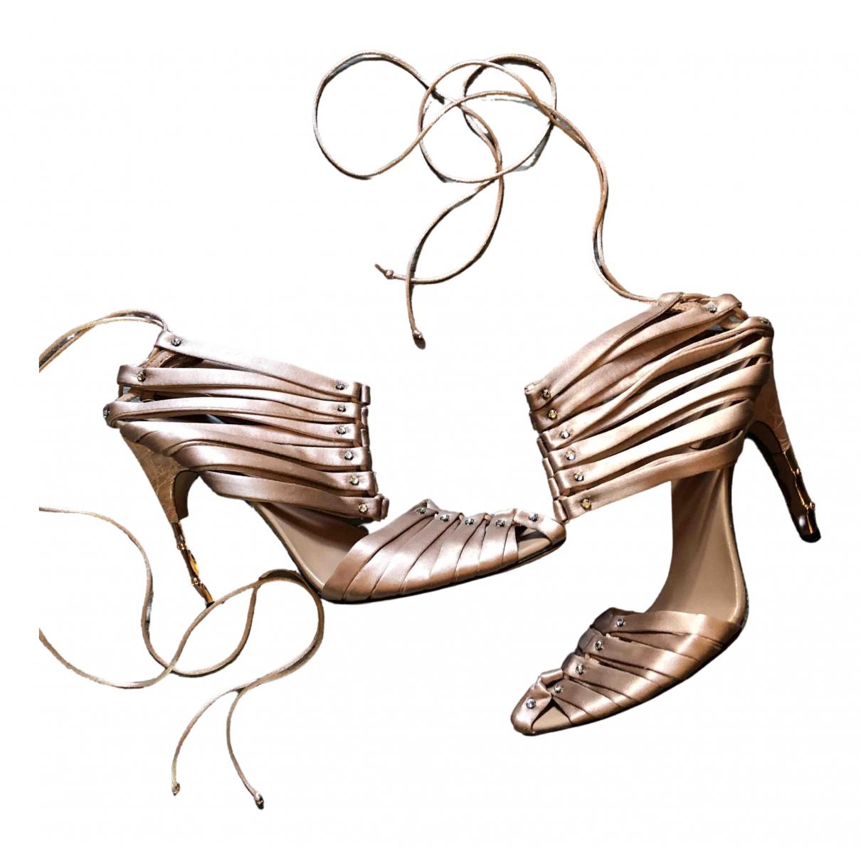 Gucci - Sandales   pour femme en toile - metallise