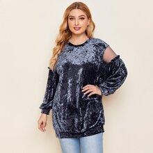 Plus Contrast Mesh Velvet Sweatshirt