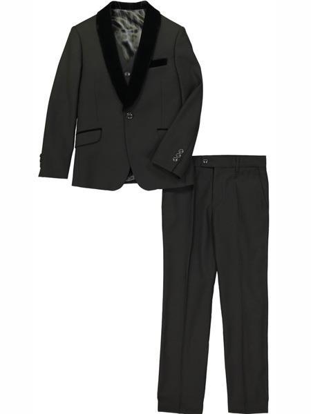 3 Pc Velvet Collar Shawl Lapel Black Tuxedo Suit