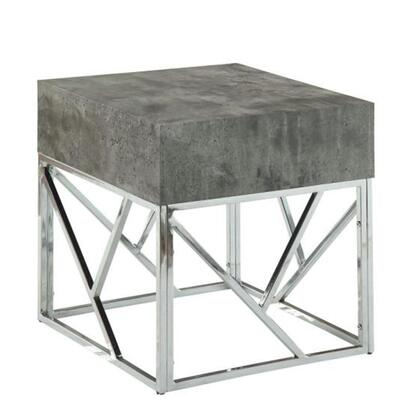 BM185921 Faux Marble Square End Table With Metal Geometric Open Base  Gray and