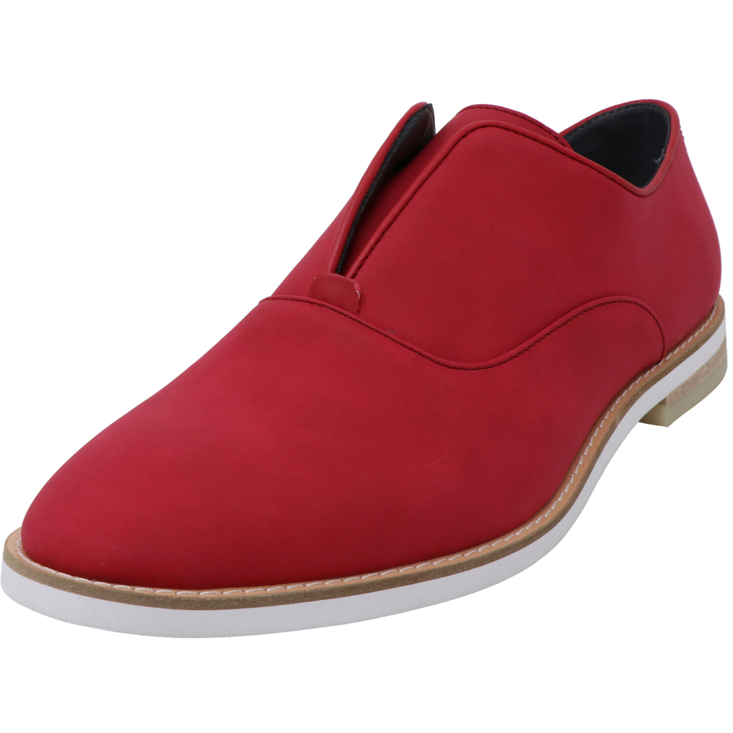 Calvin Klein Men's Auston Nubck Smooth Brick Red Ankle-High Slip-On Shoes - 13M