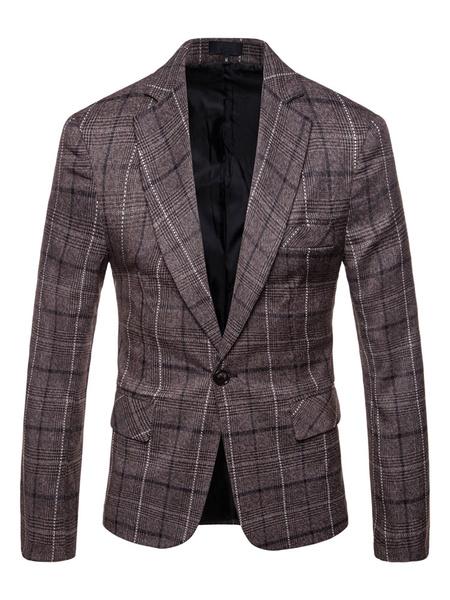 Milanoo Chaqueta de traje de cuadros a cuadros gris con cuello en muesca, chaqueta de algodon de talla grande para hombres
