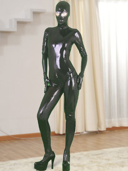 Milanoo Halloween Black Full Body Latex Catsuit with Open Eyes and Zippered Open Crotch Halloween