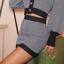 Elastic Waist Chevron Pattern Sweater Skirt