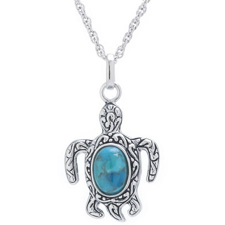 Turtle Womens Enhanced Blue Turquoise Sterling Silver Pendant Necklace, One Size , No Color Family