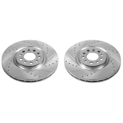 Drilled and Slotted Front Brake Rotors