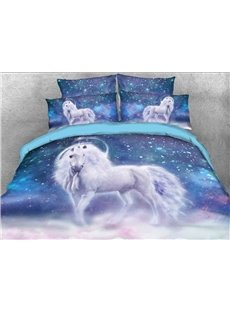 White Unicorn and Galaxy Printed Cotton 3D 4-Piece Bedding Sets/Duvet Covers