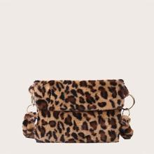 Bolsa bandolera mullida de niñas de leopardo
