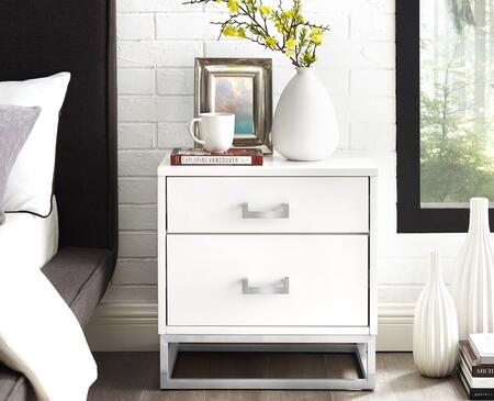 Stefano Collection NST156-09WE-AC End Table with 2 Drawers  Glossy Handle and Stainless Steel Polished Base in White and Chrome
