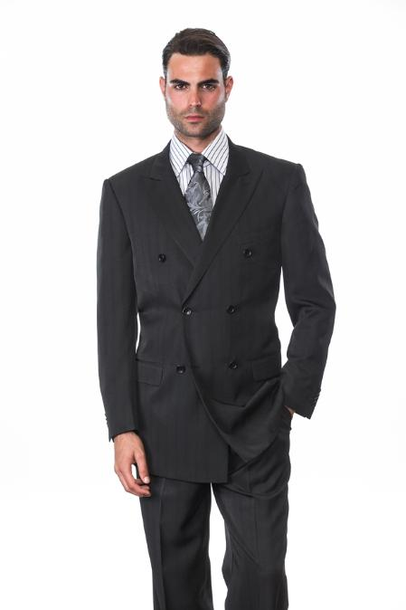 Black Double Breasted Suit With Pin Stripe Italian Wool Hand