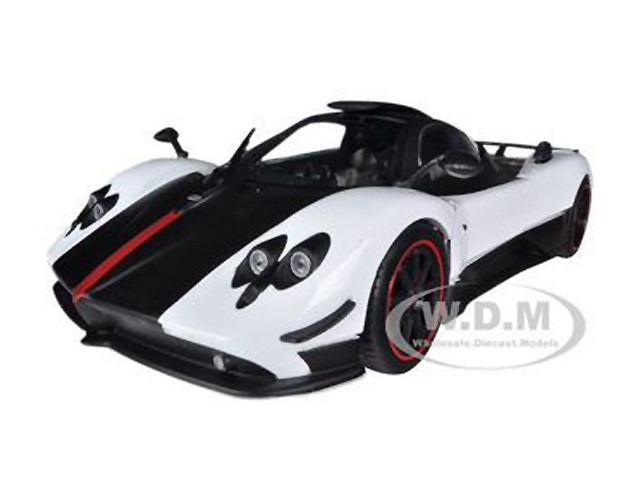 Pagani Zonda 5 Cinque White and Black 1/18 Diecast Model Car by Motormax
