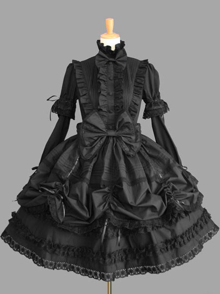 Milanoo Sweet Lolita Dress OP Black High Collar Puff Long Sleeve Cotton Lace Ruffled Bow Lolita One Piece Dress