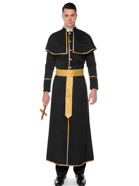 Milanoo Halloween Costumes Priest Black Men\\'s Clothes Cloak Hot Stamping Holidays Costumes