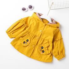 Toddler Girls 3D Ear Design Cartoon Embroidery Hooded Coat