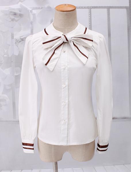 Milanoo Dandy White Long Sleeves Cotton Lolita Blouse