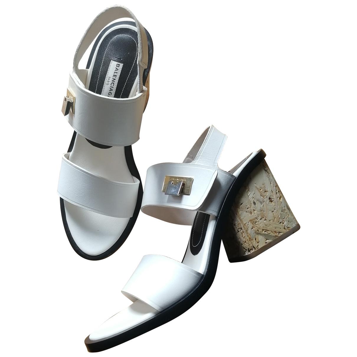 Balenciaga - Sandales   pour femme en cuir - blanc