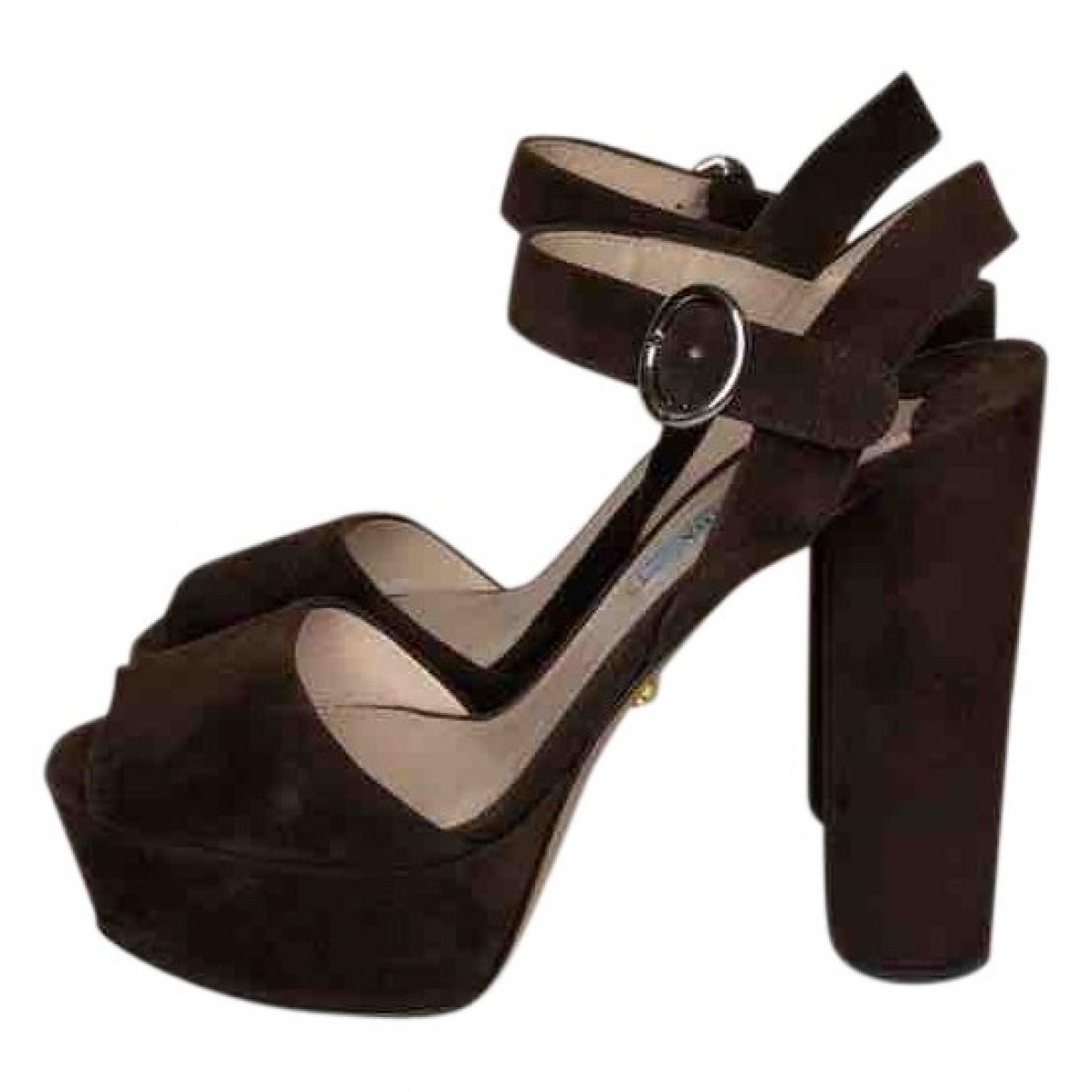 Prada \N Brown Suede Sandals for Women 37.5 EU